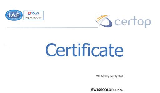certifikát Minex